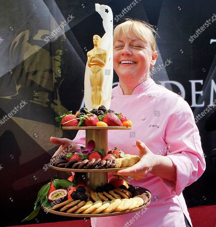 Sherry Yard Wolfgang Puck's Pastry Chef, Sherry Yard carries a sample of deserts for the 83rd Annual Academy Awards Governors Ball preview at the Kodak Theatre in Los Angeles on