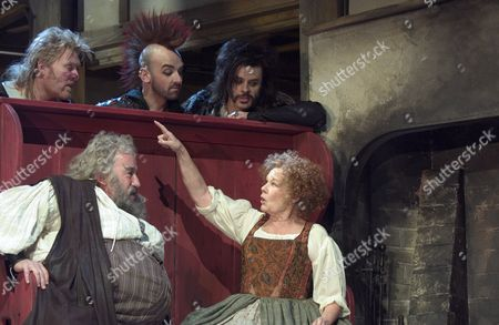 'Merry Wives - The Musical' - Left to Right seated: Sir John Falstaff (Simon Callow) and Mistress Quickly (Judi Dench) with L-R top: Bardolph (Ian Pirie), Nym (Ian Conningham) and Pistol (Brendon O'Hea). RSC production Merry Wives The Musical based on the play by William Shakespeare, adapted by Gregory Doran.