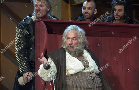 'Merry Wives - The Musical' - Left to Right seated: Sir John Falstaff (Simon Callow) with L-R top: Bardolph (Ian Pirie), Nym (Ian Conningham) and Pistol (Brendon O'Hea). RSC production Merry Wives The Musical based on the play by William Shakespeare, adapted by Gregory Doran.