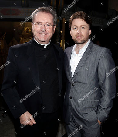 "Mikael Hafstrom, Father Gary Thomas Director Mikael Hafstrom, right, and father Gary Thomas pose together at the premiere of ""The Rite"" in Los Angeles on . Thomas' life is the basis for the film"