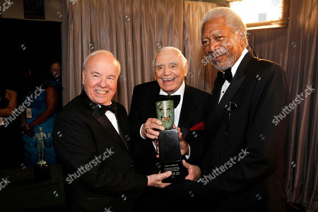 Tim Conway, Ernest Borgnine, Morgan Freeman From left, Tim Conway, Ernest Borgnine, and Morgan Freeman are seen backstage at the 17th Annual Screen Actors Guild Awards on in Los Angeles