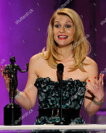 "Claire Danes Claire Danes accepts the award for best female actor in a TV movie or miniseries for ""Temple Grandin"" at the 17th Annual Screen Actors Guild Awards on in Los Angeles"