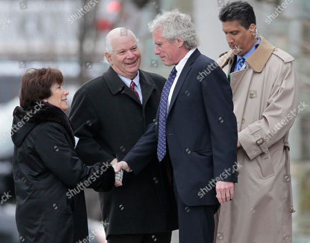Robert Kennedy II, Ben Cardin, Myrna Cardin Joseph Kennedy II, right, son of the late Robert F. Kennedy, greets Sen. Ben Cardin, D-Md., center, and his wife Myrna, as they arrive for the funeral Mass of R. Sargent Shriver at Our Lady of Mercy Catholic church in Potomac, Md., just outside Washington, . Shriver, the man responsible for launching the Peace Corps after marrying into the Kennedy family, died last Tuesday at age 95 after suffering from Alzheimer's disease for years
