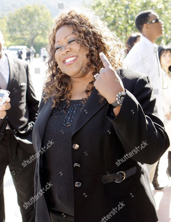 Stock Photo of Singer Shirley Murdock arrives at a memorial service for singer Teena Marie at Forest Lawn-Hollywood Hills in Los Angeles . Teena Marie, whose given name was Mary Christine Brockert, died Dec. 26, 2010, at age 54