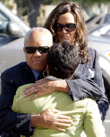 Stock Image of Motown founder Berry Gordy Jr. embraces Lynn Allen Jeter as he arrives at a memorial service for singer Teena Marie at Forest Lawn-Hollywood Hills in Los Angeles . Teena Marie, whose given name was Mary Christine Brockert, died Dec. 26, 2010, at age 54