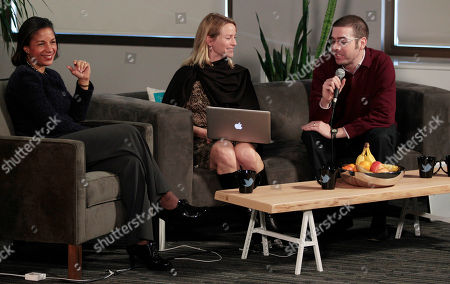 Susan Rice, Katie Jacobs Stanton, Alexander Macgillivray Ambassador Susan Rice, the US Ambassador to the UN, left, laughs as she speaks with Katie Jacobs Stanton, VP of Twitter International, center, and Alexander Macgillivray, chief counsel for Twitter, at the Twitter office in San Francisco