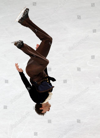Ryan Bradley Ryan Bradley performs a back flip after his routine during the men's free skate program in the U.S. Figure Skating Championships in Greensboro, N.C., . Bradley won the event