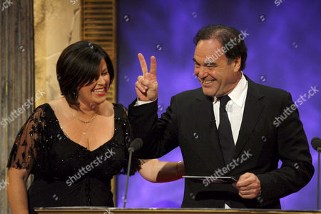 Liza Tarbuck and Oliver Stone
