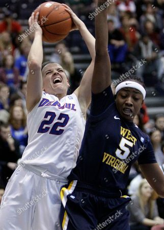 Sam Quigley, Sarah Miles DePaul's Sam Quigley, left, shoots against West Virginia's Sarah Miles during the second half of an NCAA women's college basketball game in Chicago, . DePaul won 78-55