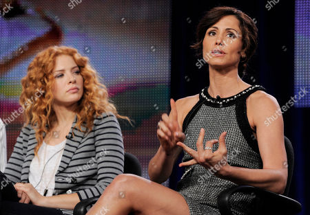 "Valerie Cruz, Rachelle Lefevre Valerie Cruz, right, a cast member in the ABC series ""Off the Map,"" takes part in a panel discussion with fellow cast member Rachelle Lefevre during the Disney ABC Television Critics Association winter press tour in Pasadena, Calif"