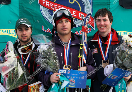 Stock Picture of Guilbaut Colas, Alexandre Bilodeau, Jeremy Cota First-place winner Guilbaut Colas, of France, center, poses with second-placed Alexandre Bilodeau of Canada, left, and third-placed Jeremy Cota of the United States, during a medals ceremony for he men's moguls during World Cup freestyle skiing, in Wilmington, N.Y