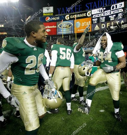 Jamoris Slaughter, Kerry Neal, Hafis Williams Notre Dame safety Jamoris Slaughter (26), linebacker Kerry Neal (56) and defensive lineman Hafis Williams (94) celebrate Notre Dame's 27-3 victory over Army in an NCAA college football game at Yankee Stadium in New York