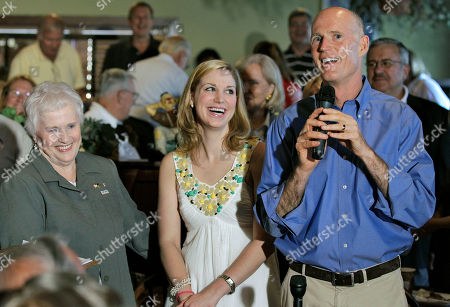 Rick Scott, Jordan Scott, Esther Scott Florida Republican gubernatorial candidate Rick Scott, right, shares a laugh with his daughter Jordan, center, and his mother Esther, left, while speaking to supporters during a campaign stop, in New Port Richey, Fla