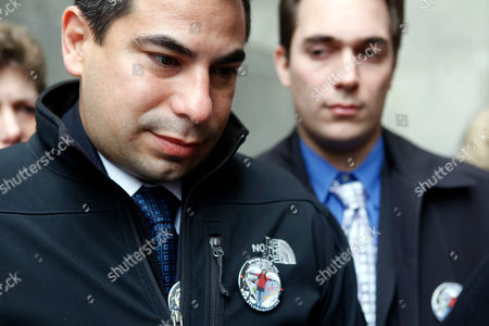 Stock Image of Patrick Orlando-Cachay, left, and David Orlando-Cachay, speak to reporters outside criminal court in New York after leaving the arraignment of Nicholas Brooks, who is accused of murdering their sister Sylvie Cachay, . Brooks pleaded not guilty to murdering his swimsuit designer girlfriend in a trendy New York City hotel
