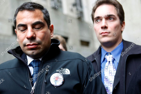 Stock Picture of Patrick Orlando-Cachay, left, and David Orlando-Cachay, speak to reporters outside criminal court in New York after leaving the arraignment of Nicholas Brooks, who is accused of murdering their sister Sylvie Cachay, . Brooks pleaded not guilty to murdering his swimsuit designer girlfriend in a trendy New York City hotel