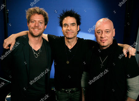 """Scott Underwood, Patrick Monahan, Jimmy Stafford The recording group """"Train"""" from left to right, Scott Underwood, Patrick Monahan and Jimmy Stafford pose for a portrait in New York"""