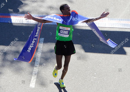 Gebre Gebremariam Gebre Gebremariam, of Ethiopia, crosses the finish line first in the men's division at the 2010 New York City Marathon in New York, . Gebremariam has won the men's title at the New York City Marathon in his debut at the distance