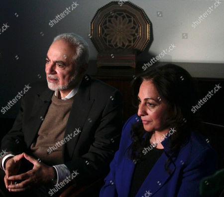 Stock Photo of Muslim community leaders Imam Feisal Abdul Rauf and Daisy Khan, husband and wife, hold an interview, in New York. Both are involved with plans for the proposed Islamic cultural centre near the site of the September 11th terrorist attacks