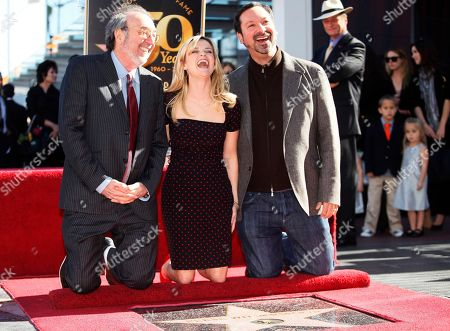 Stock Picture of James Brooks, Reese Witherspoon, Jim Mangold Academy Award actress Reese Witherspoon, middle, with directors: James Brooks, left, and James Mangold, right, as she is honored with a star on the Hollywood Walk of Fame, in Los Angeles
