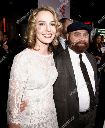 """Stock Photo of Zach Galifianakis, Quinn Lundberg Cast member Zach Galifianakis, right, and Quinn Lundberg arrive at the premiere of """"Due Date"""" in Los Angeles on"""
