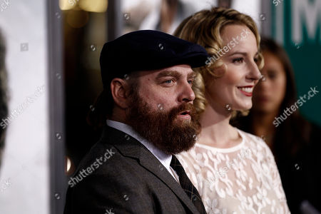 """Zach Galifianakis, Quinn Lundberg Cast member Zach Galifianakis, left, and Quinn Lundberg arrive at the premiere of """"Due Date"""" in Los Angeles on"""