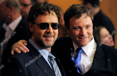 """Stock Picture of Russell Crowe, Michael Buie Russell Crowe, left, star of """"The Next Three Days,"""" poses with fellow cast member Michael Buie at a screening of the film in Los Angeles"""