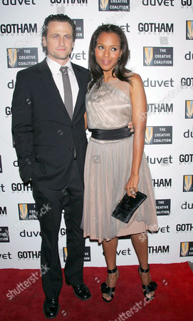 Stock Picture of David Moscow and fiance Kerry Washington