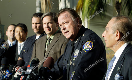 Beverly Hills, Calif., Police Chief Dave Snowden, second from right, with Det. Sgt. Mike Publicker, third from right, and Mayor Jimmy Delshad, right, amond city officials talking to reporters about the murder of publicist Ronni Chasen, at a news conference at police headquarters