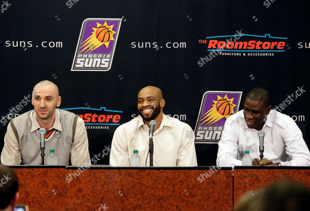 Marcin Gortat, Vince Carter, Mickael Pietrus Newly acquired Phoenix Suns' Marcin Gortat, Vince Carter and Mickael Pietrus are introduced, in Phoenix. The three were acquired from the Orlando Magic for Jason Richardson, Hedo Turkoglu and Earl Clark