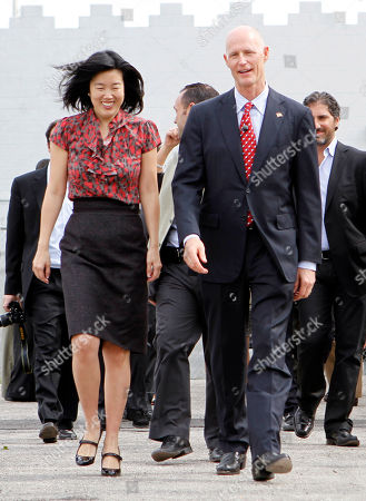 Michelle Rhee, Rick Scott Michelle Rhee, left, former D.C. public schools chief, and Gov. Rick Scott prepare to tour a South Florida charter school in in Opalocka, Fla., . Rhee was on Scott's education transition team, and the new governor said she would continue to serve Florida as an informal education adviser