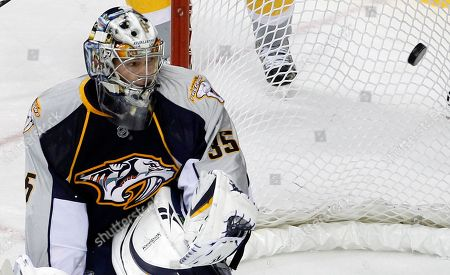 Pekka Rinne Nashville Predators goalie Pekka Rinne, of Finland, looks for the puck as it gets past him for a goal by Ottawa Senators forward Alexei Kovalev in the first period of an NHL hockey game, in Nashville, Tenn. The Senators won 2-1