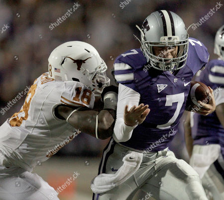 Collin Klein Kansas State quarterback Collin Klein (7) gets past Texas linebacker Emmanuel Acho (18) as he runs for a touchdown during the second quarter of a college football game against in Manhattan, Kan