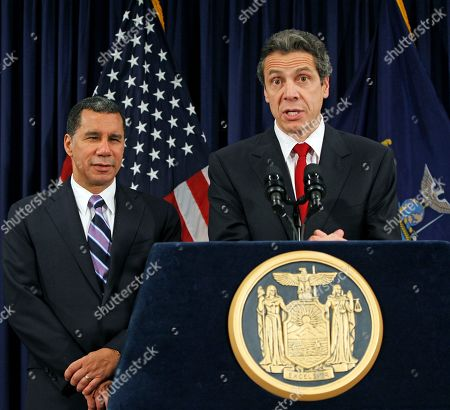 David Paterson, Andrew Cuomo New York Governor David Paterson, left, listens to New York governor-elect Andrew Cuomo speak at a news conference following a private meeting between the outgoing and incoming state leaders at Paterson's offices in New York