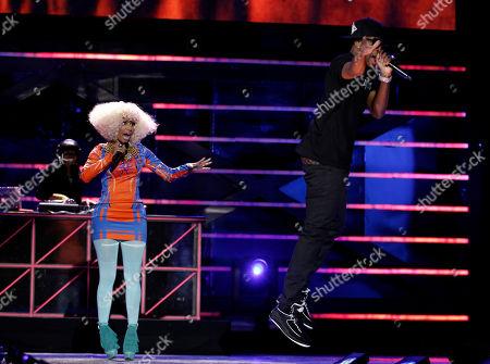 "Nicki Minaj, Safaree Samuels Nicki Minaj, left, and Safaree Samuels perform onstage at the ""Vh1 Divas Salute the Troops"" on in San Diego, Calif"