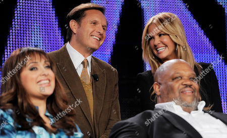"""Mark Burnett, Nancy O'Dell, Eric Warren, Elizabeth Espinosa Mark Burnett, top left, executive producer of """"Your OWN Show: Oprah's Search for the Next TV Star,"""" participates in a panel discussion on the show along with host Nancy O'Dell, top right, during the Discovery Communications Television Critics Association winter press tour in Pasadena, Calif., . Looking on are show finalists Elizabeth Espinosa, bottom left, and Eric Warren"""