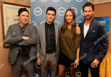 """Will Patton, Drew Roy, Moon Bloodgood, Noah Wyle Cast members, from left, Will Patton, Drew Roy, Moon Bloodgood and Noah Wyle, from the new series """"Falling Skies,"""" pose together backstage during the Turner Broadcasting Television Critics Association winter press tour in Pasadena, Calif"""