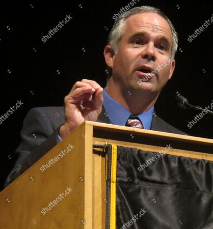 State Sen. Tim Huelskamp, the Republican nominee in Kansas' 1st Congressional District, speaks during a debate, Monday night, at Emporia State University in Emporia, Kan