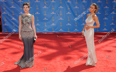 "Maria Menounos, Giuliana DePandi Maria Menounos, left, from television's ""Entertainment Tonight"" and television personality Giuliana DePandi pose for photographers as they arrive for the 62nd Primetime Emmy Awards, in Los Angeles"