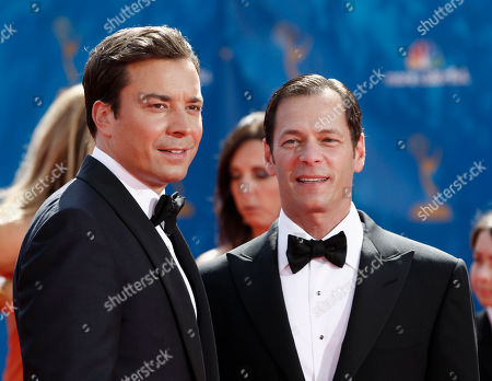Jimmy Fallon, Jeff Gaspin Host Jimmy Fallon, left, and Jeff Gaspin, chairman, NBC Universal, Television Entertainment, arrive for the 62nd Primetime Emmy Awards, in Los Angeles