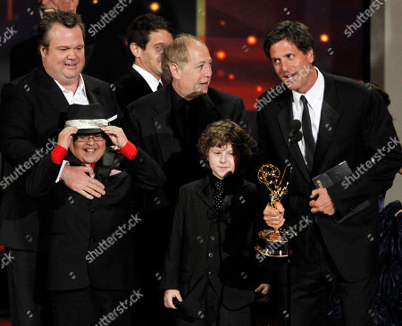 "Stock Picture of Steven Levitan Steven Levitan and the cast of ""Modern Family"" accept the award for outstanding comedy series during the 62nd Primetime Emmy Awards, in Los Angeles. From left are Eric Stonestreet, Rico Rodriguez, writer Danny Zuker and Nolan Gould, second right"