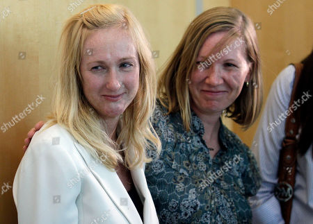 "Stock Photo of Kendra Beebe, left, stands with her friend, Mary Barlow, right, after the verdict was read in the attempted murder trial involving Actor Shelley Malil in Vista, Calif., . The actor, who appeared in the film ""The 40-Year-Old Virgin,"" was convicted Thursday of the attempted premeditated murder of Beebe, who is his ex-girlfriend"