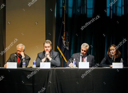 Richard Brodsky, Sean Coffey, Eric Dinallo, Kathleen Rice Democratic candidate for New York attorney general Kathleen Rice, right, speaks during a debate with other Democratic candidates in Albany, N.Y., on . Listening, from left, are Richard Brodsky, Sean Coffey and Eric Dinallo