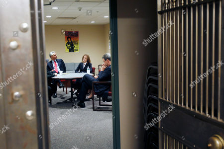 Eric Dinallo, Kathleen Rice, Sean Coffey Democratic candidates for New York attorney general Eric Dinallo, left, Kathleen Rice, center, and Sean Coffey meet in a bank vault which serves as a green room before a debate at the WAMC studio in Albany, N.Y., on