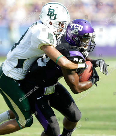 Jimmy Young, Chance Casey Baylor cornerback Chance Casey, left, and TCU wide receiver Jimmy Young, right, during an NCAA college football game in Fort Worth, Texas
