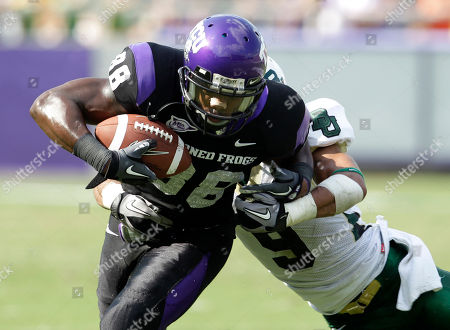 Chance Casey, Jimmy Young TCU wide receiver Jimmy Young (88) attempts to escape the grasp of Baylor cornerback Chance Casey (9) in the first half of an NCAA football game in Fort Worth, Texas. TCU won 45-10