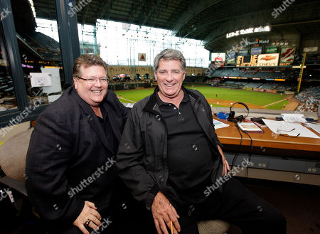 John Rooney, Mike Shannon St. Louis Cardinals radio broadcasters John Rooney, left, and Mike Shannon, right, during the seventh inning of a baseball game against the Houston Astros, in Houston