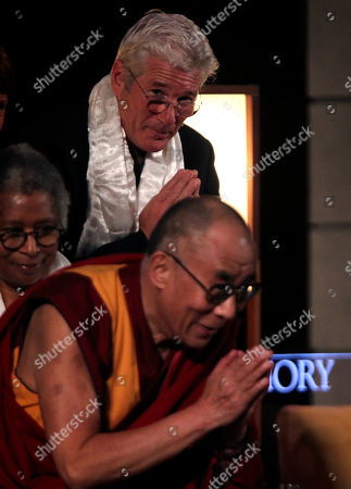 Dalai Lama, Richard Gere, Alice Walker Actor Richard Gere, top, and author Alice Walker, left, look on as The Dalai Lama acknowledges the audience after speaking at Emory University, in Atlanta