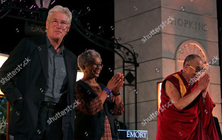 Dalai Lama, Richard Gere, Alice Walker Actor Richard Gere, left to right, author Alice Walker, and The Dalai Lama, speak at Emory University, in Atlanta