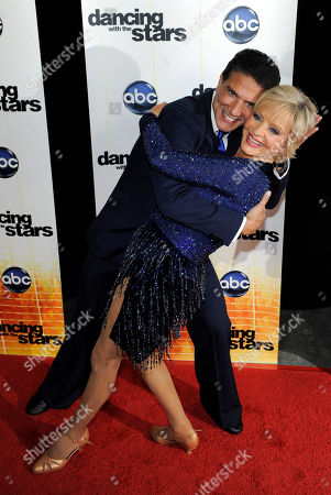 "Florence Henderson, Corky Ballas Contestant Florence Henderson poses with her dance partner Corky Ballas following the 11th season premiere of ""Dancing with the Stars"