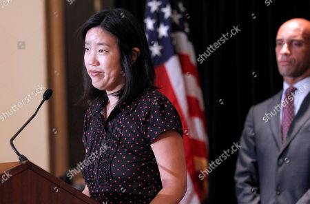 Michelle Rhee, Adrian Fenty DC Schools Chancellor Michelle Rhee, left, accompanied by Washington Mayor Adrian Fenty, during an announcment that she is resigning, in Washington